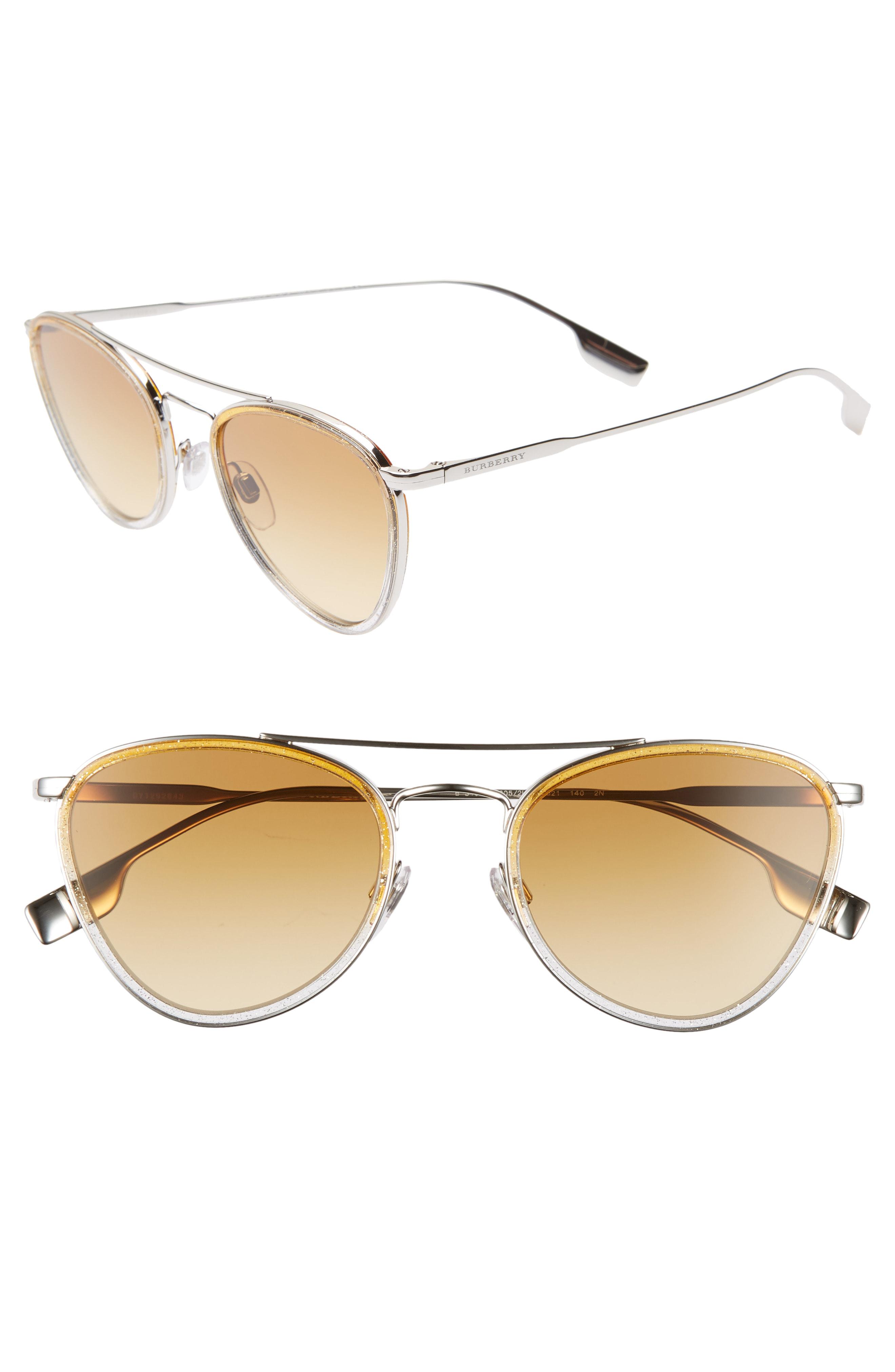 0a2679db01 Burberry 51Mm Aviator Sunglasses - Silver  Lite Yellow Gradient ...