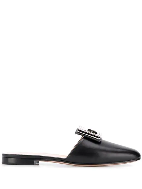 Gucci Leather Slide Mules With Square Crystal G In Black