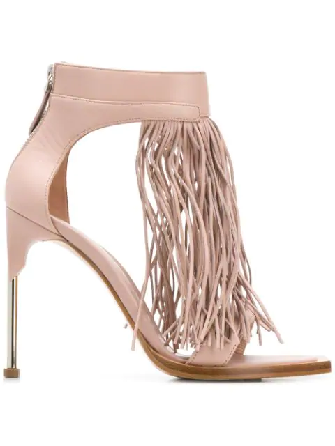 Alexander Mcqueen Leather Fringed Pin Heel Sandals 105 In Pink