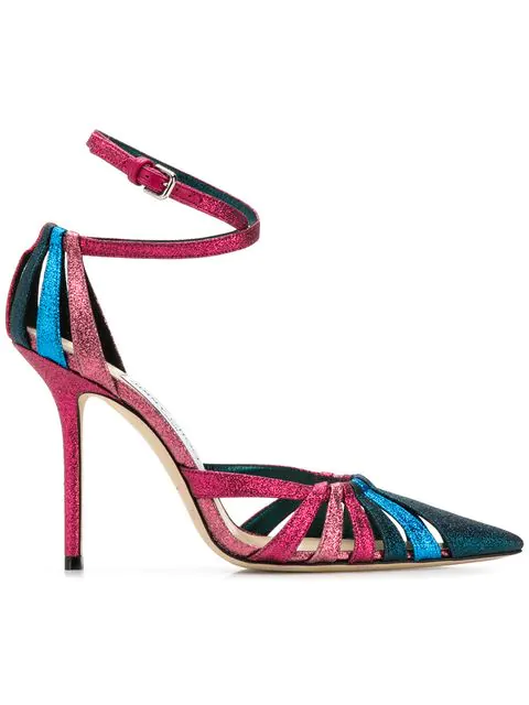 Jimmy Choo Travis 100 Raspberry Mix Glitter Fabric Strappy Pump With A Pointed Toe In Pink