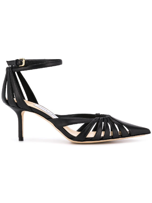9bc0a477a1 Jimmy Choo Travis 65 Black Metallic Nappa Leather Strappy Pump With A Pointed  Toe