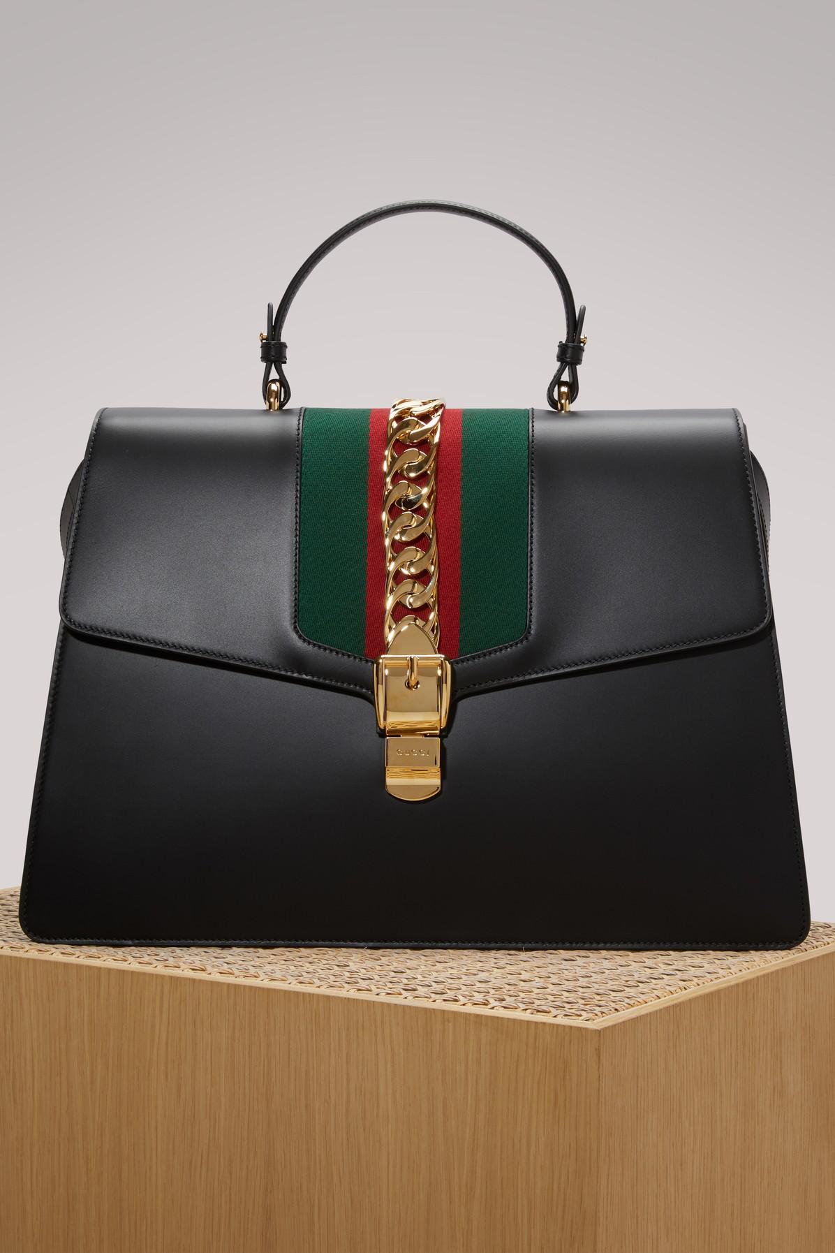 Gucci Sylvie Chain-Trim Top-Handle Bag, <Font><Font>Black</Font></Font>