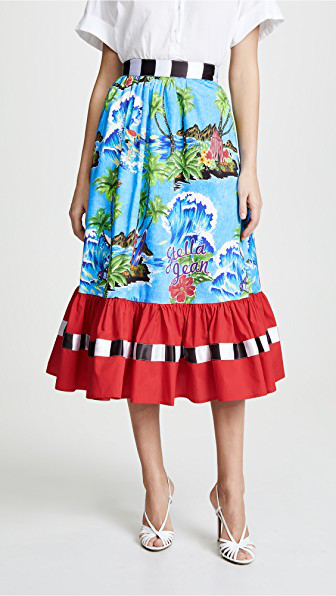 b3ca409337 Stella Jean Floral Colorblock Midi Skirt In Blue Multi/Red