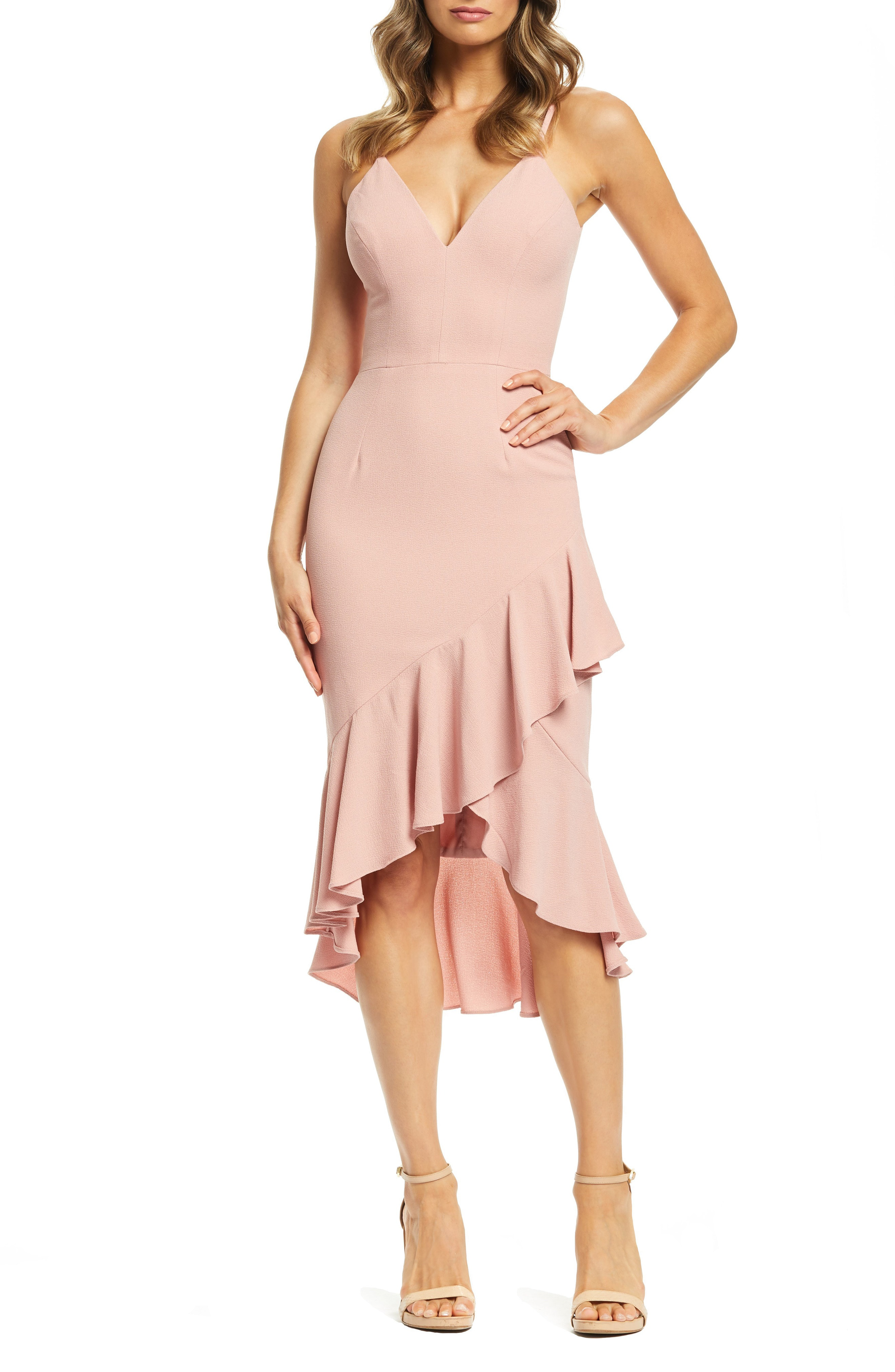 aba800212bf Dress The Population Wendy High Low Ruffle Cocktail Dress In Blush ...