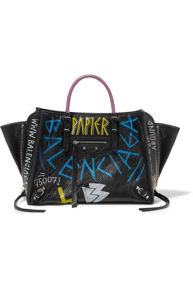 Balenciaga Papier Za A6 Graffiti Printed Textured-Leather Tote In Black