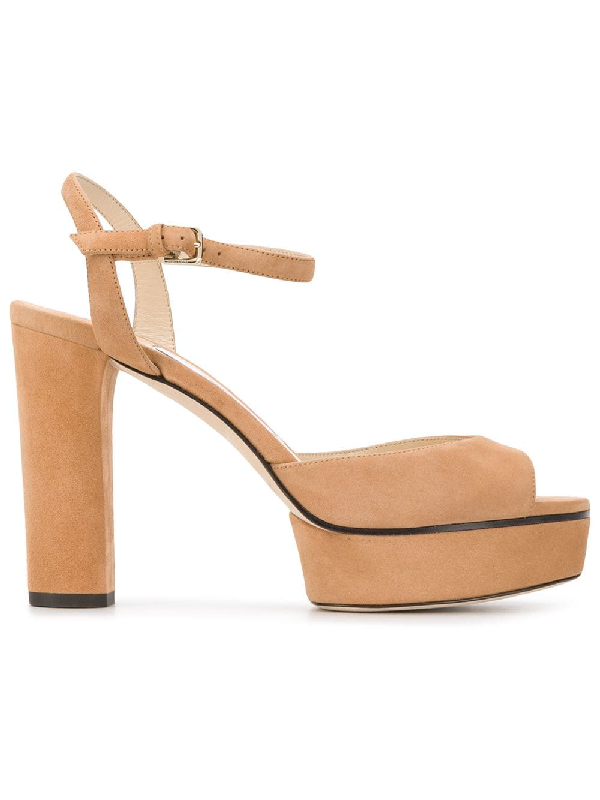 Jimmy Choo Peachy 105 Caramel Suede Platform Sandals In Neutrals