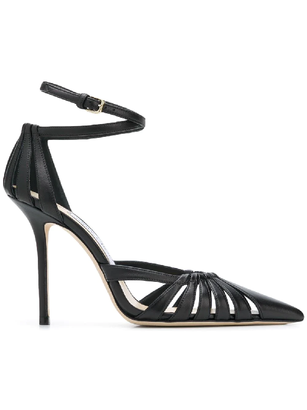 2f941f08ec Jimmy Choo Travis 100 Black Metallic Nappa Leather Strappy Pump With A Pointed  Toe