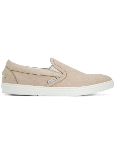 Jimmy Choo Grove Moon Broken Star Printed Nubuck Slip On Trainers In Neutrals