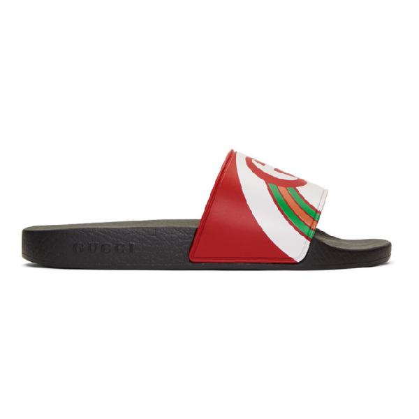 Gucci Men's Interlocking G Rainbow Rubber Slide Sandals In Red