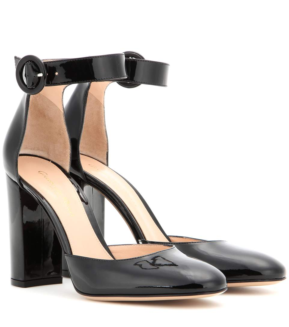 Gianvito Rossi Patent Leather Ankle-Strap Pumps In Black