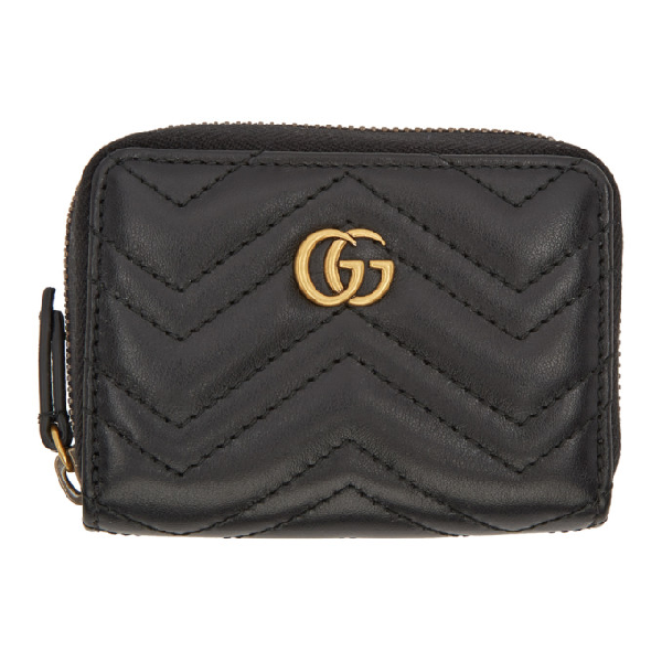 ed2b3fada34641 Gucci Gg Marmont Quilted Leather Wallet In 1000 Black | ModeSens