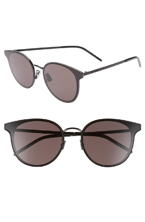 7d595cf0d040 Saint Laurent 64Mm Oversize Flat Front Round Sunglasses - Black/ Black
