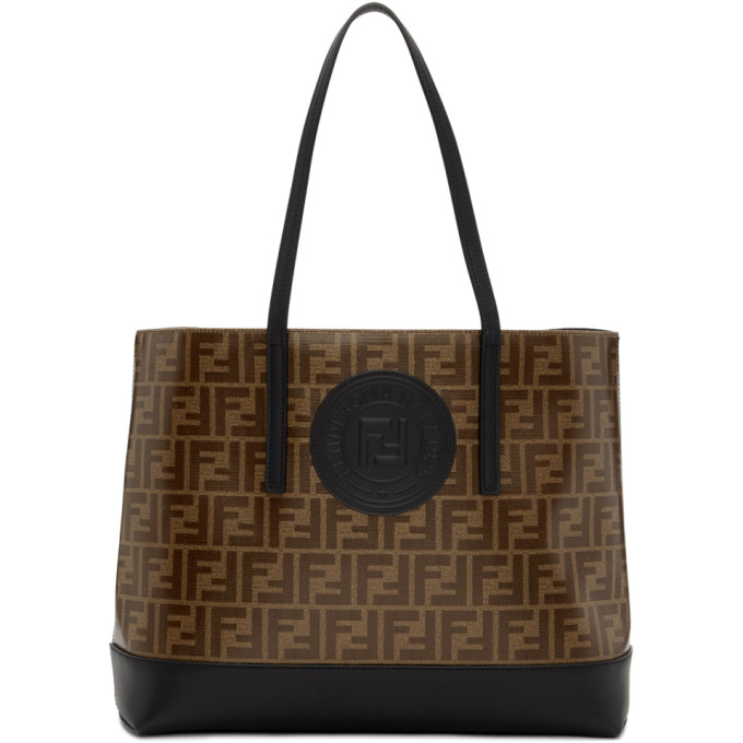 Fendi Brown And Black Forever  Shopper Tote In F14Tw Black