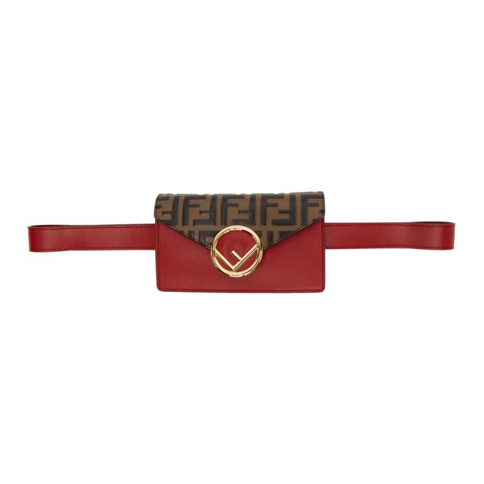 Fendi Red And Brown Forever  Belt Bag In F13Vj Black