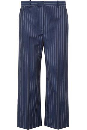Versace Woman Cropped Pinstriped Wool-Twill Straight-Leg Pants Indigo