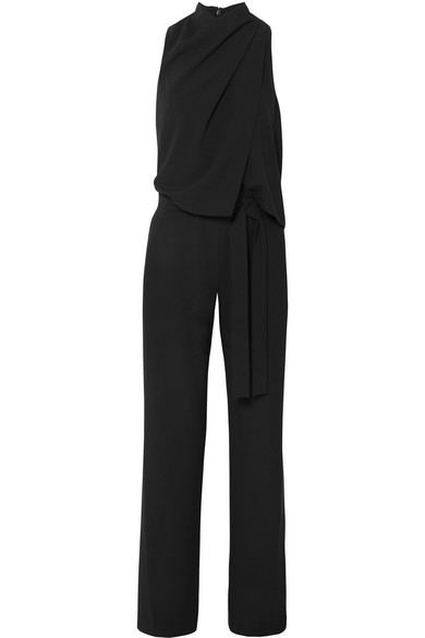 0d079cd6f68 Halston Heritage Sleeveless Draped Jumpsuit W  Sash In Black