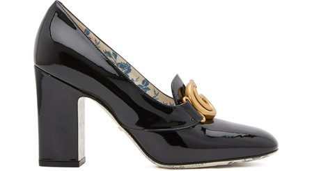 Gucci Gg Patent Leather Pumps In Black