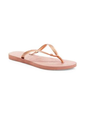 8a59a4b310eb Add a dose of glitz and glamour to your footwear collection with these  sparkling Havaianas flip-flops. A slim metallic top strap features a  dazzling ...