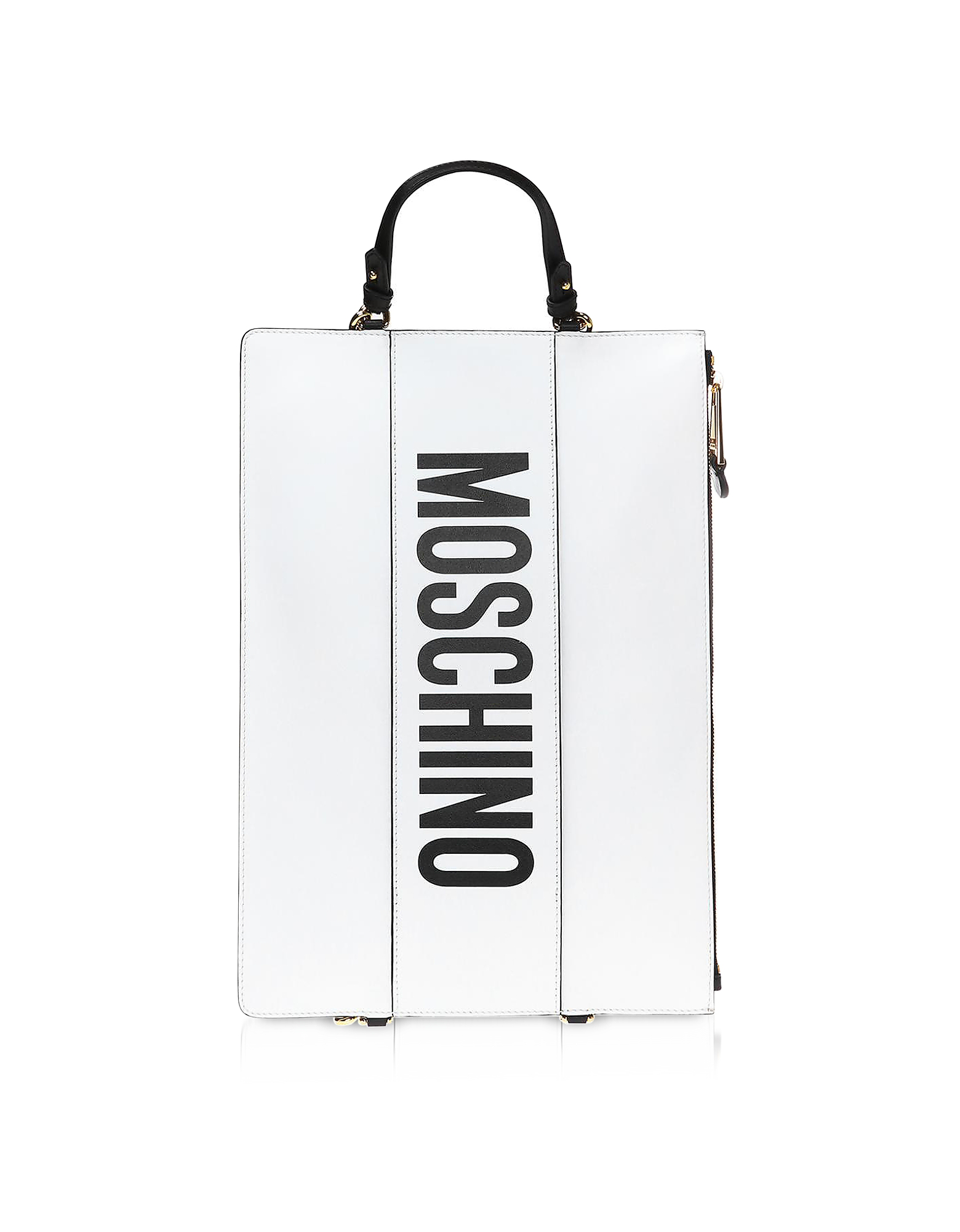 Moschino White Leather Flat Backpack