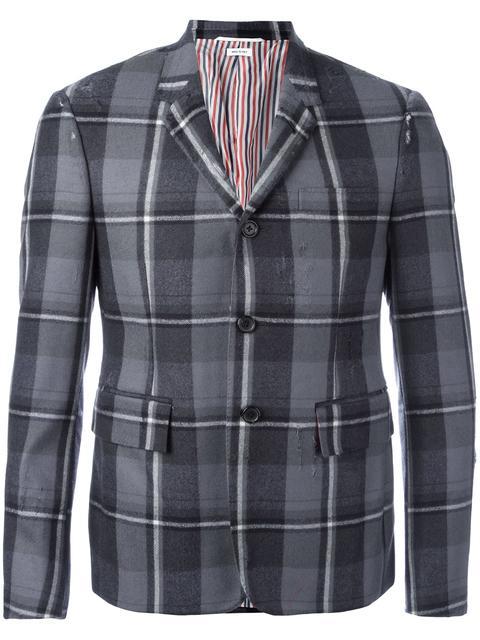 Thom Browne Checked Blazer In Grey
