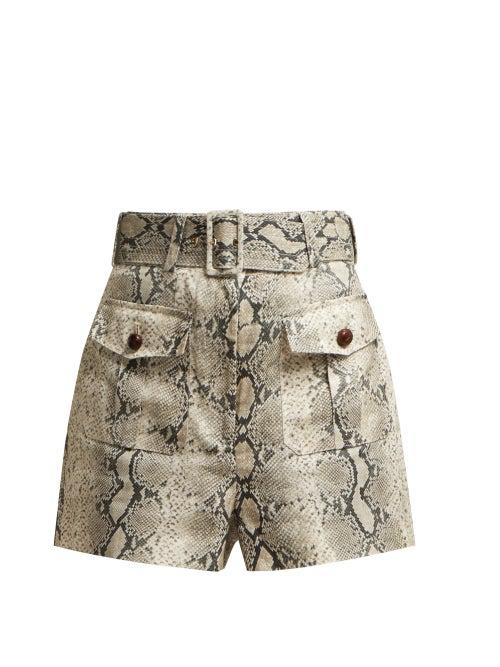 Zimmermann Corsage Safari Snake-Print High-Waist Linen Shorts In Grey