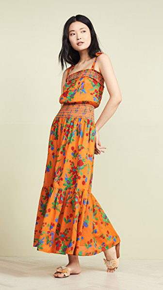 Tory Burch Floral-Print Smocked Cotton Maxi Dress In Toucan Floral