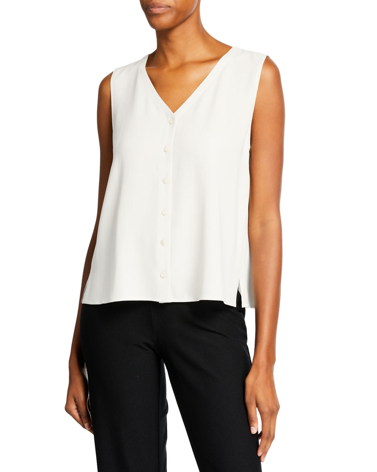 7703889349b Eileen Fisher Plus Size V-Neck Button-Front Sleeveless Silk Georgette Crepe  Top In