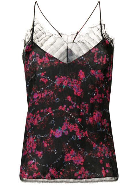 Iro Dasher Lace Trim Floral Print Camisole In Black