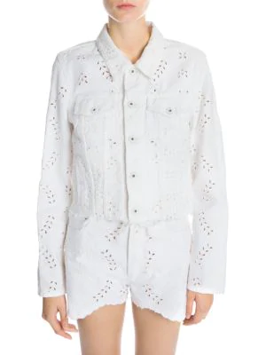 Off-White Embroidered & Cropped Denim Jacket In White
