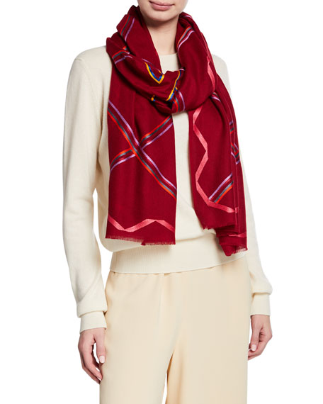 K Janavi A Fresh Space Cashmere Scarf In Bordeaux