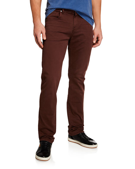 7 For All Mankind Men's Clean-pocket Straight-leg Jeans In Dark Red