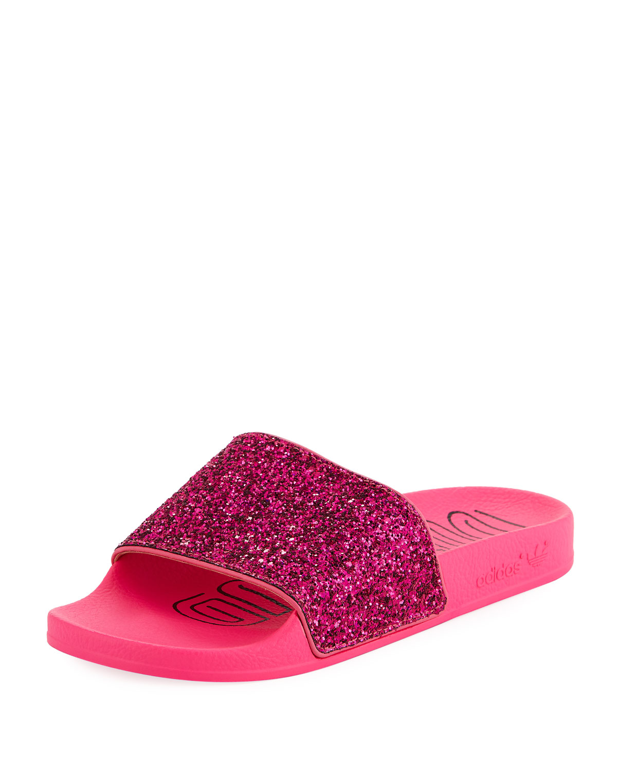 ab23c5dc7b0 Adidas Originals Adilette Glitter Vinyl Pool Slide Sandals In Shock Pink  Black