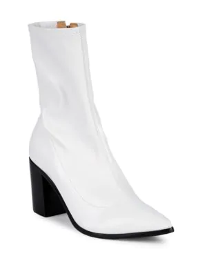 Schutz Block-heel Sock Booties In White
