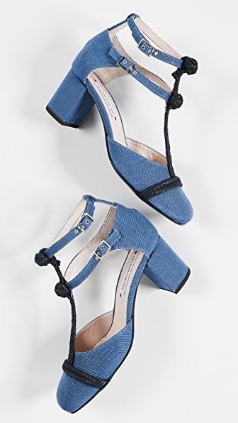 Leandra Medine T-Strap Rope Mid Heels In Blue