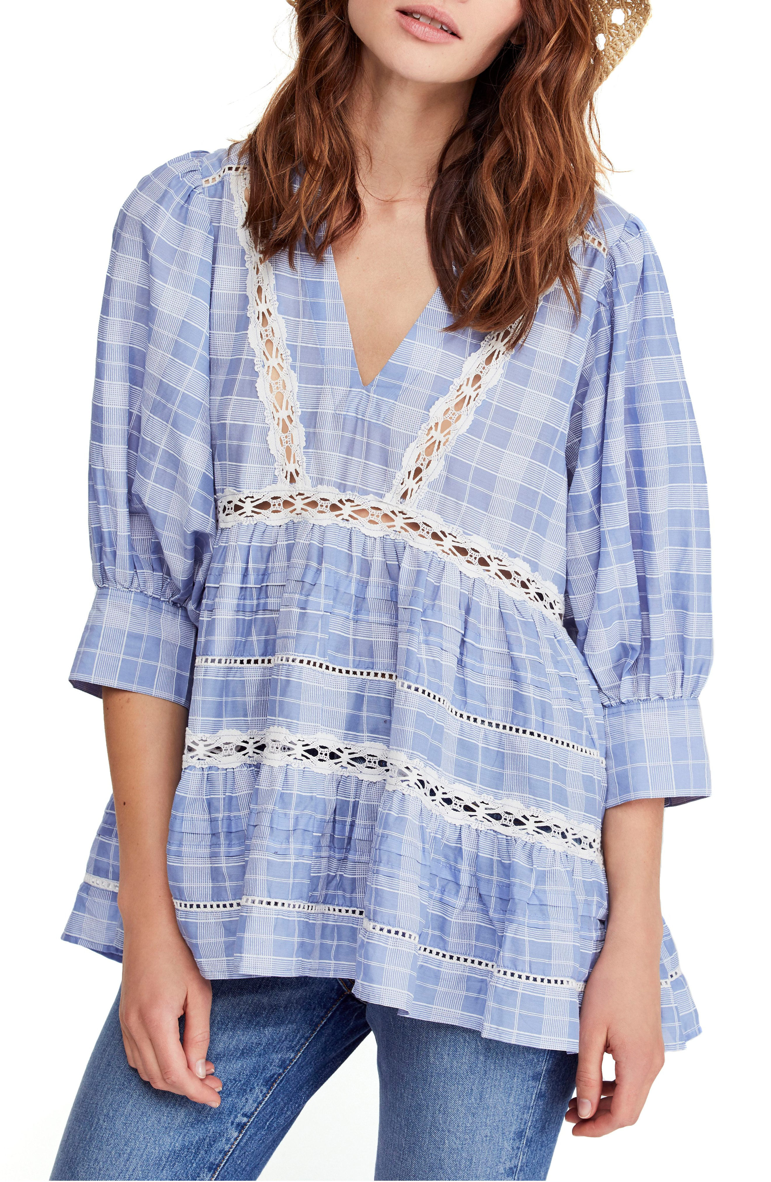 b537434b5bac Free People Time Out Lace Tunic In Blue | ModeSens