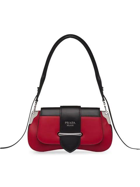 Prada Sidonie Leather Shoulder Bag In Red
