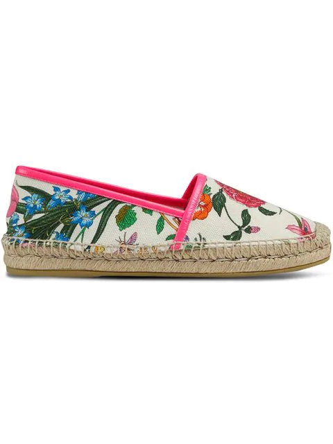 Gucci Leather-Trimmed Floral-Print Canvas Espadrilles In White