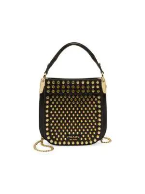 71795baaeac9 Prada Small Studded Margit Shoulder Bag In Black | ModeSens