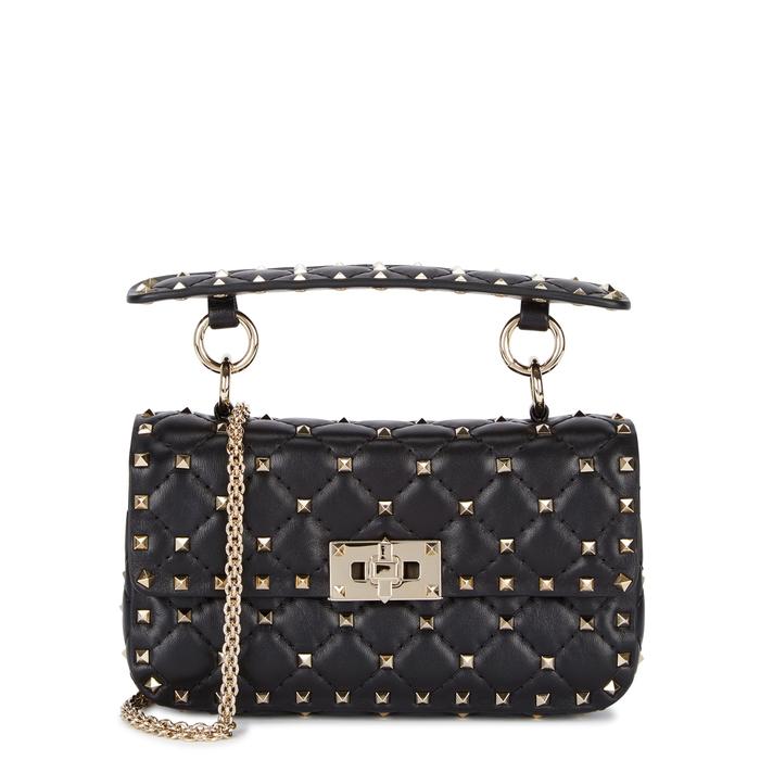 Valentino Rockstud Spike Small Leather Shoulder Bag In Black