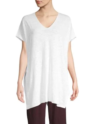 Eileen Fisher Organic Linen Cotton Knit Tunic Top In White
