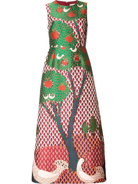Red Valentino Fantasy Landscape Jacquard Midi Dress In Multicoloured
