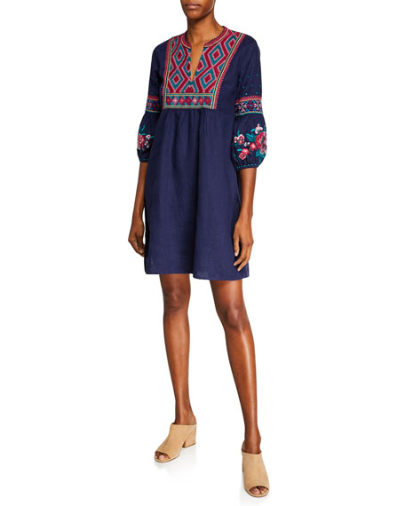 Plus Size Annaliese Bishop-Sleeve Embroidered Peasant Dress in Navy