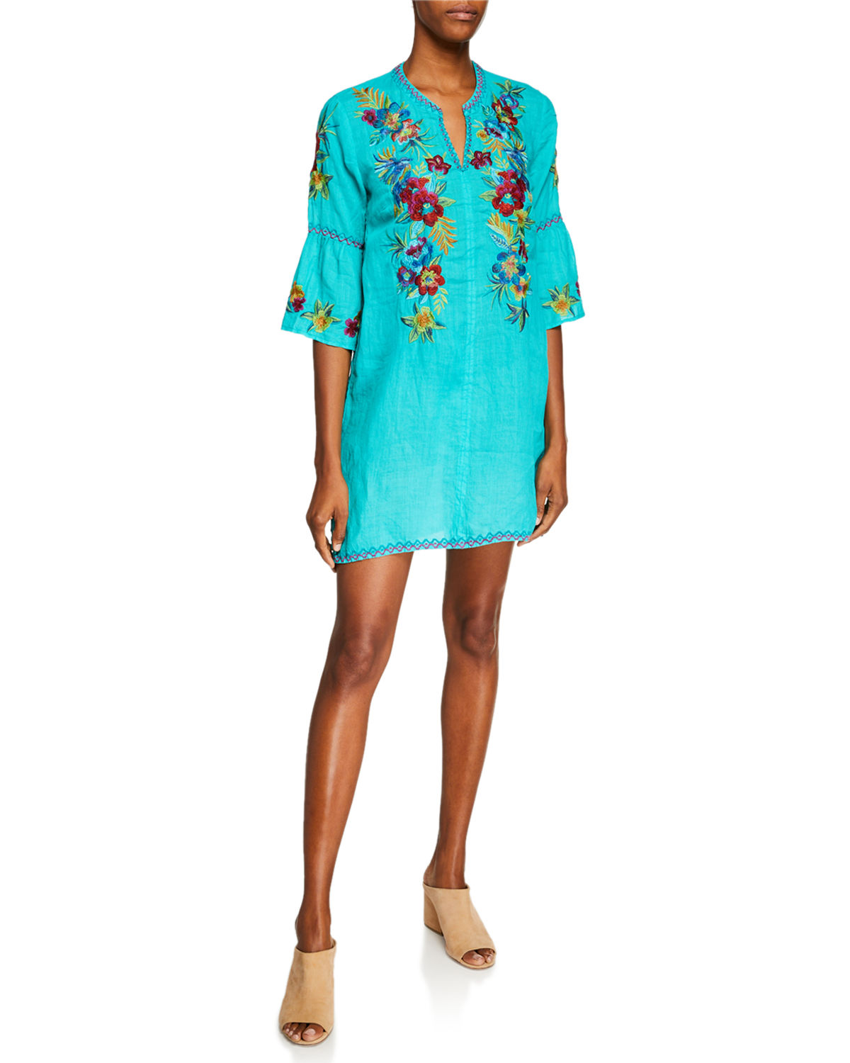 c925e664af7 Johnny Was Plus Size Nandi Flare-Sleeve Floral-Embroidered Linen Tunic  Dress In Blue