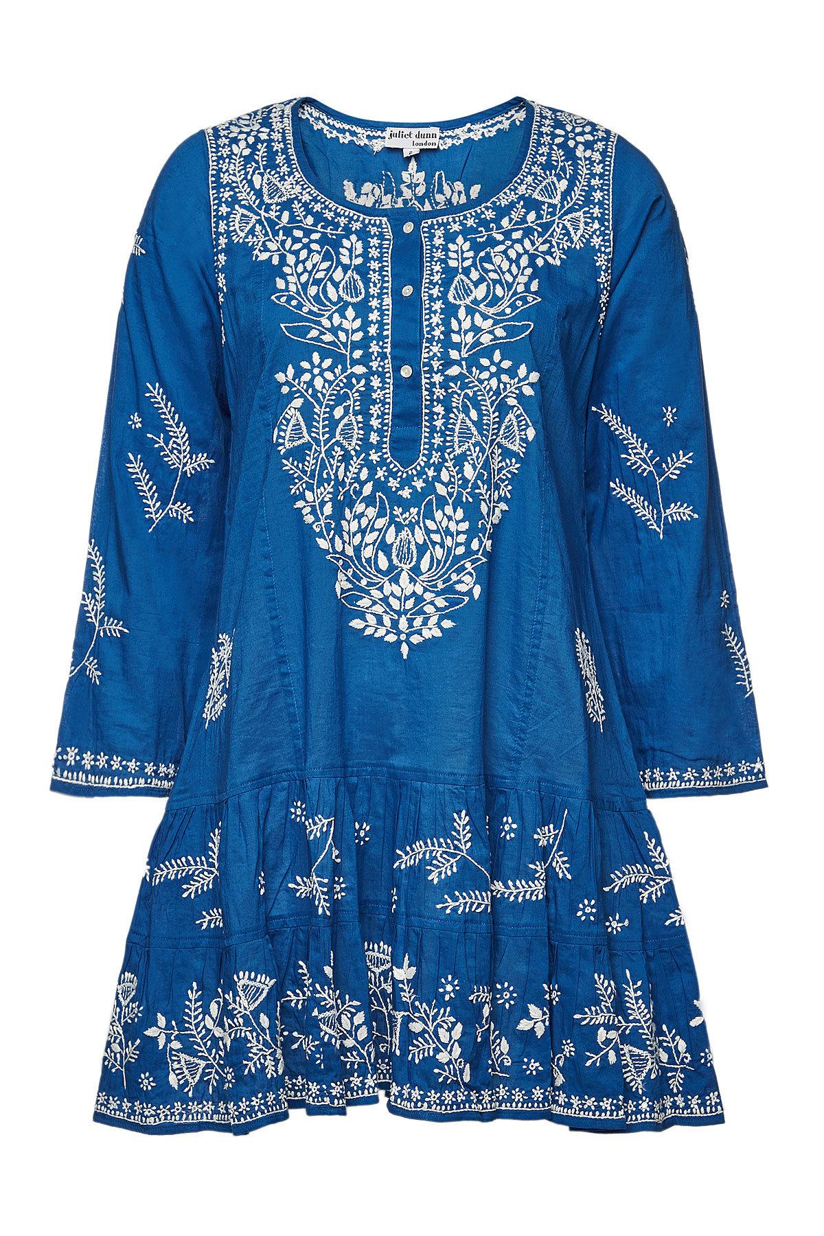 002a406ffc Juliet Dunn Embroidered Cotton Long Sleeve Classic Beach Dress In Blue