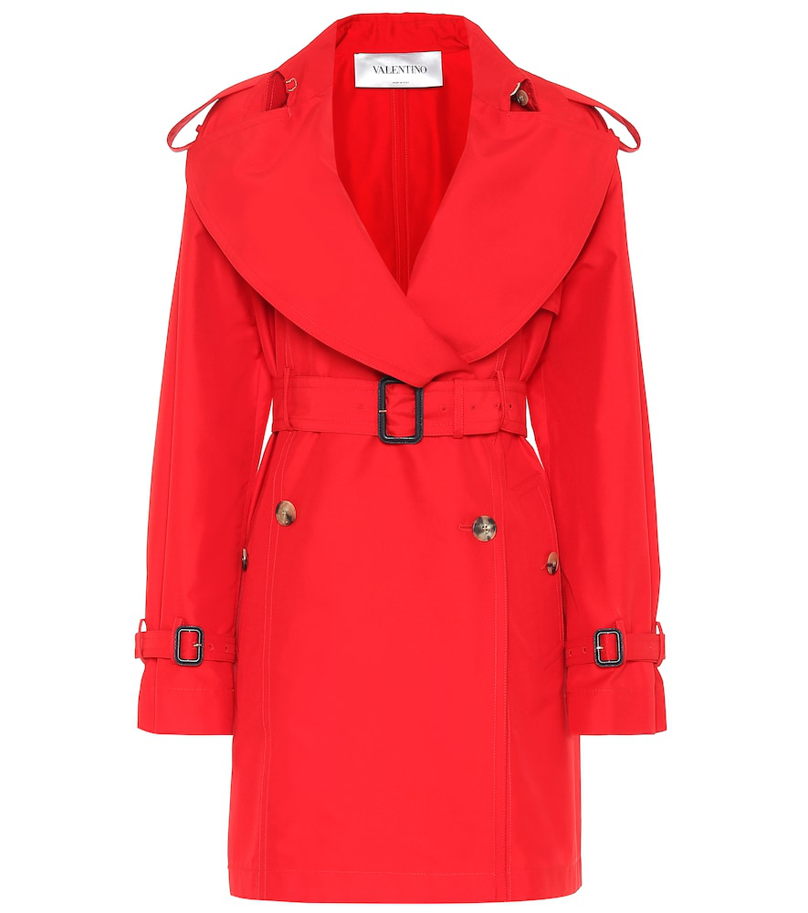 Valentino Cotton And Silk Trench Coat In Red