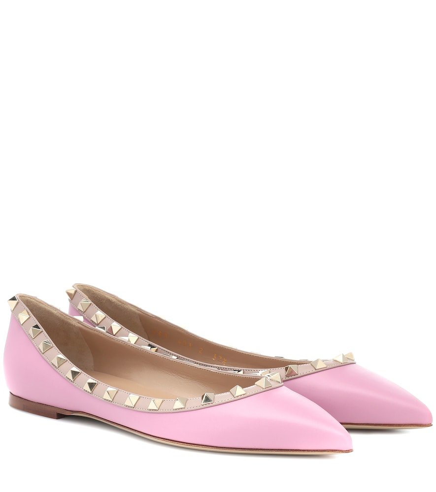 Valentino Rockstud Leather Ballet Flats In Pink