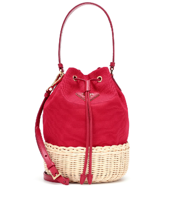 7bca49769859 Prada Giardiniera Leather-Trimmed Canvas And Wicker Shoulder Bag In Red
