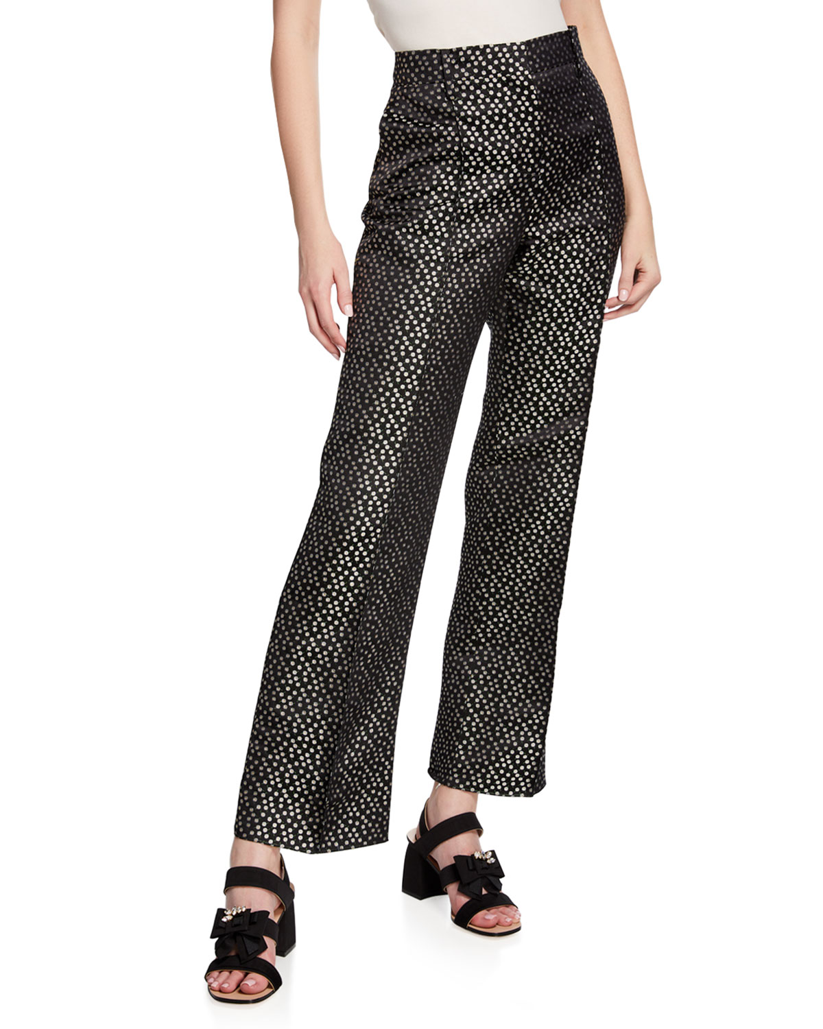 Valentino Daisy Embroidered Wide-Leg Silk Pants In Black
