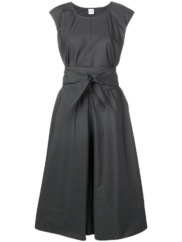 Aspesi Cap-Sleeve Full Skirt Dress W/ Self Belt In Grey