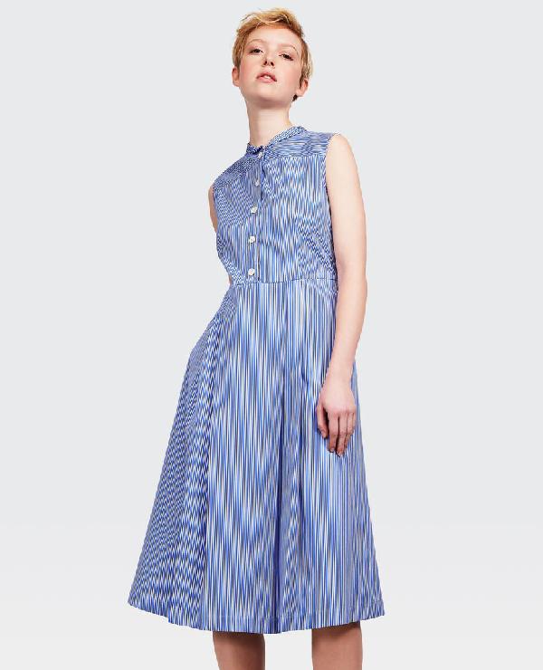 Aspesi Sleeveless Cotton Poplin Dress In Stripe In Blue